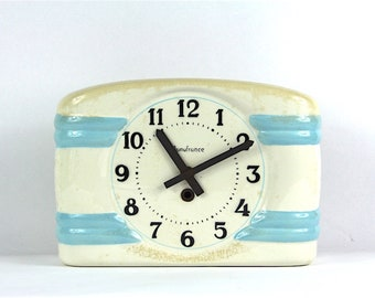 French Ironstone Kitchen Wall Clock, Vintage Porcelain Wall Clock, Shabby Chic Sky Blue and Tea Stained.