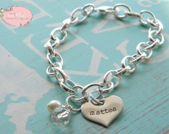 Personalized Hand Stamped Bracelet with Clear Bead and Ivory Swarovski Pearl
