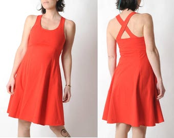Red jersey dress, Red cotton dress with crossed straps in the back, Red womens dress, Sleeveless red dress, High waist dress, MALAM