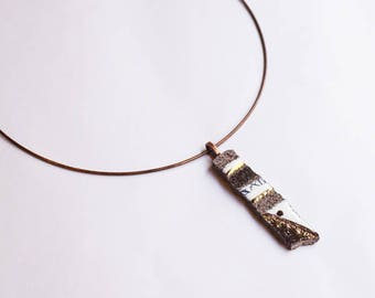 Lava glazed pendant and touches of gold, organic white and gray elongated rectangular