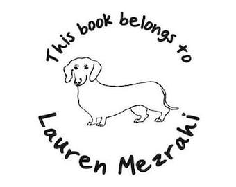 this book belongs to dachshund custom Rubber Stamp dog