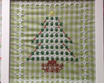 Chicken scratch embroidery- Christmas tree kit