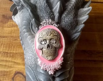 Gothic Day of The Dead Muerto Mexocan Sugar Skull Cameo Brooch Steampunk Cosplay Vintage roses