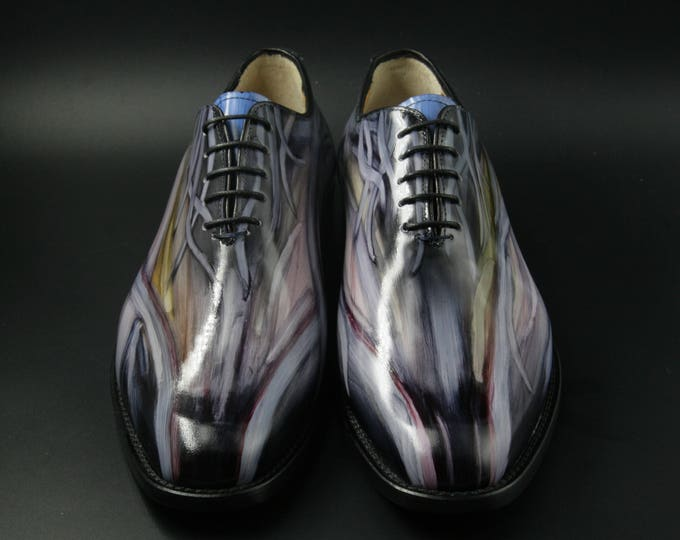 Featured listing image: Leather man patina shoes, artist fantasy in grey tones, hand painted. made in Italy