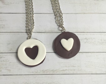 Oreo cookie best friend necklaces - cookie necklace - miniature food jewelry - oreo bff necklace - best friend jewelry - polymer clay food
