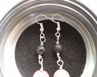 Handmade bead earrings - Red and lava bead for essential oils, plated silver