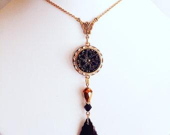 Art Deco Statement Necklace - Black Necklace - Victorian Necklace - BELLE EPOQUE Black