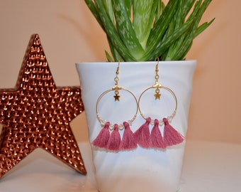 Pink earrings old tassels