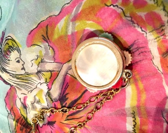 Vintage Mother of Pearl Tambourine Bracelet From The 1960s
