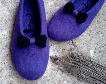 Elegant felt slippers Women felt clogs, Boiled wool slippers, Felt wool slippers, Womens slippers, Gift for Her, Purple, Wool shoes