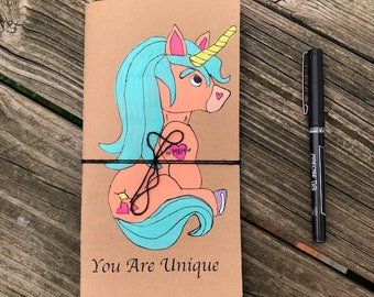 Handpainted acrylic boy unicorn Midori travelers notebook insert 11cm x 21cm (approximately 4.33in x 8.25in) with inspirational quote
