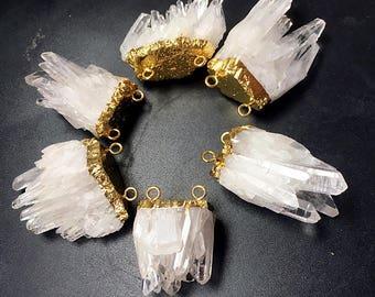 SALE Natural Crystal Quartz Pendants // Gold Drusy Crystal // Druzzy Quartz Pendant with Gold Electroplated Double Bail B552_01