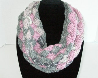 Cotton Knit Scarf / Pink and Gray Infinity Scarf / Knit Circle Scarf / Cotton Knit Cowl