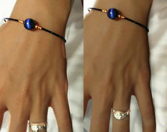 Blue Tiger Eye Copper Bracelet