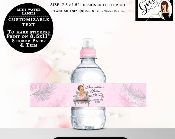 "Pink and Silver MINI Water Labels Baby Shower Bottle Label wrapper, favors stickers, personalized Fits 8oz-12oz. 7.5 x 1.5""/7 Per Sheet"