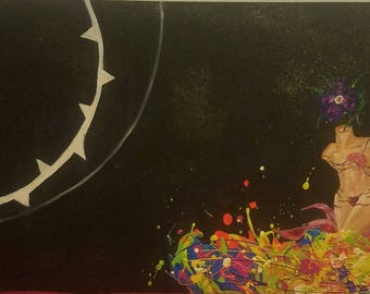 """Original Artwork by Lisa Fae """"Abyss"""" Fun, Colorful, Outerspace Acrylic Painting"""