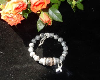 Labradorite, Silver and  Dragonvein Agate Bracelet