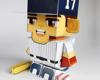 Paper Toy Craft Activity BLUE Baseball  – Super DIY kids craft gift for boys and girls, makes a great sports party craft activity