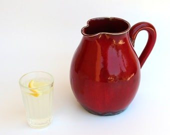fire Red Pitcher,Pitcher for juice, A Jug for Water,A Vessel for Bouquet,ready to ship,