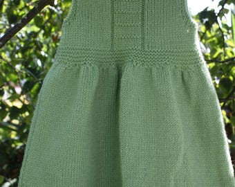 Green Pinafore Dress With Pointy Lacy Hem