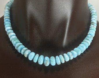 Soft Blue Larimar / 19 inch Necklace/Sterling Silver beads and clasp