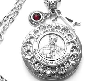 Drug Addiction Patron Saint St. Maximilian Kolbe Locket Antique Silver Necklace, Custom Birthstone & Initial Letter, Catholic Gift, Padre