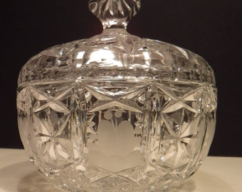 Large Heavy Cut Crystal Covered Candy Dish, Brilliant Crystal Lidded Candy Dish, Candy Bowl, Beautiful Cut and Frosted Crystal Bowl with Lid