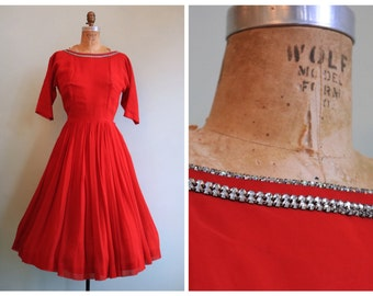 Vintage 1950's Red Chiffon and Rhinestone Dress | Size Small