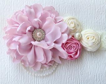 Baby Girl Headband, Pink Baby Headband, Flower Girl Headband, Wedding Flower Headband, First Birthday HeadBand, Cake Smash HeadBand