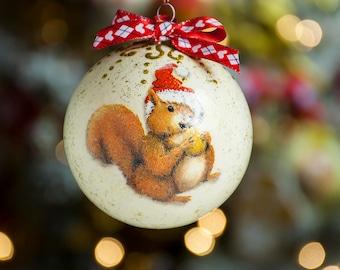 Christmas squirrel decor Squirrel ornament Xmas tree decor Christmas balls Christmas ornaments Holiday decoration Xmas decoration Xmas decor