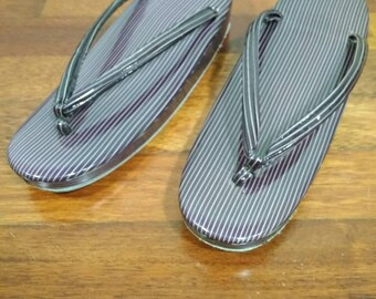 H329 Japanese Traditional Purple Striped Zori Geta Sandal Slipper Geta Shoes Geisha Geta Wood Maiko Kimono Costume