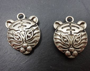 Set of 5 charms charms, Asian Tiger animal pendants lions in silver, 15 x 18 mm