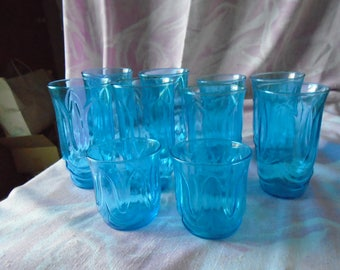 Vintage Blue Glasses Set of Ten, Anchor Hocking Glass Company, 4 - 16 oz, 4 - 12 oz, and 2 - 4 oz,  From 1970's