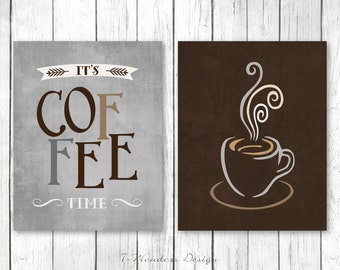 "Modern Kitchen Art Prints - It's Coffee Time and Cup- Set of (2) 5x7, 8x10 or 11"" x 14"" // Grey, Brown // Modern Kitchen Art Decor"