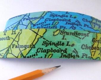 "Falmouth Maine Barrette 4.5"" - Jumbo Clip - Vintage Chart Graphics-Casco Bay"