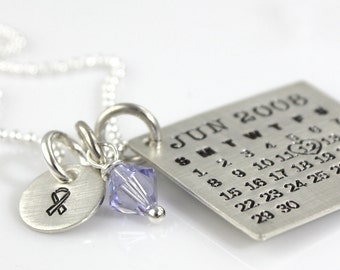 Mark Your Calendar Necklace with Awareness Ribbon Charm and Crystal