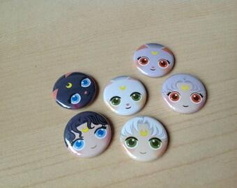 Sailor Moon Cats Button 6-pack