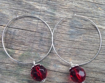 Earrings Hoop, and Red Crystal bead.