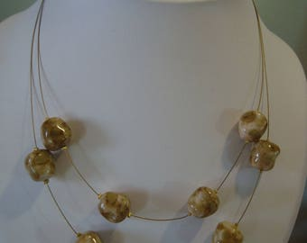 Double necklace unusual beads
