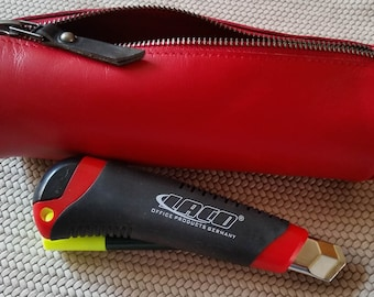 Leather case leather pencil case Leather roll Orange red leather pencil pouch