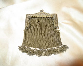 ANTIQUE Gold Mesh Purse Art Nouveau Bag Doll Size