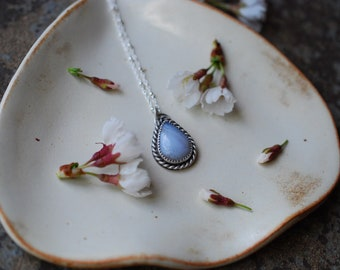 Blue Lace Agate Sterling Silver Hummingbird Necklace