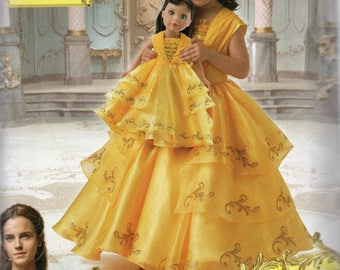 "Beauty and The Beast BELLE Simplicity Disney Pattern 8405 Child's sizes 3 4 5 6 7 8 & 18"" DOLL"