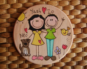 YOUR FAMILY PERSONALIZABLE fridge magnet handmade,, wood burn, engraved, pyrography