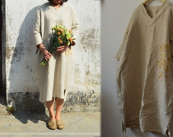 B15---Textured Linen Tunic Dress, V-neck, with Hand Embroidery, Made to Order.