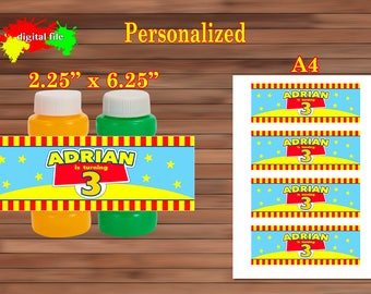 Toy Story Party Favor, Birthday Bubble Labels, Personalized,PDF