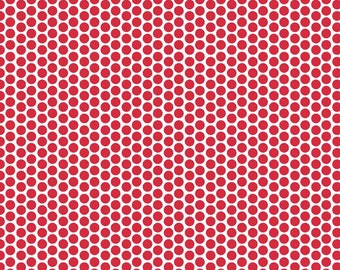 Red Honeycomb Reverse Dot Fabric by Riley Blake