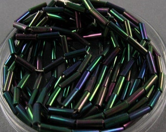Vintage European  Glass Bugle  Beads - Green Iris