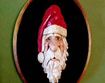 Santa Christmas  Ornament - Old World Santa - Hand Carved