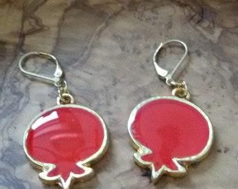 Red Pomegranate Earrings, Gold Earrings, Resin Jewelry